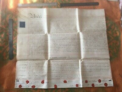 VELLUM 1821 Indenture ,11 Sealed Wax Stamps ORIGINAL, 2 foot square, 3 pages ,