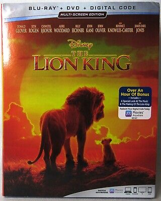 THE LION KING (Disney) Blu-ray + DVD + Digital >NEW< With Slipcover
