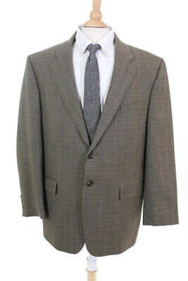 Lauren Ralph Lauren Mens Wool Houndstooth Two Button Blazer Brown Size 46