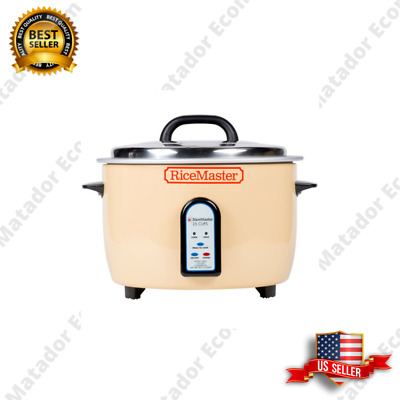 50 Cup Electric Rice Cooker Warmer Beige Round 25 Cup Raw Automatic 120V 1700W