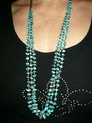 Vintage 3 Strand Turquoise Nuggets Beads & Heishe Shell Navajo Necklace Antique