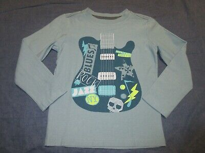 NEW NWOT Boys L/S Shirt by TEA COLLECTION w/ GUITAR - Sz 7 - Rock/Jazz/Blues