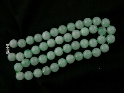 Lovely Chinese Nephrite Jade Round Beads Short Necklace X091