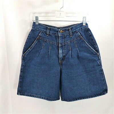 Chic Vintage women's high waist denim shorts Size 10 front pleat detail pockets