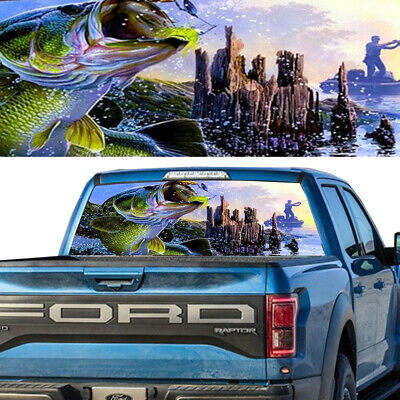 BASS seabass FISHING fish Rear Window Graphic Decal Tint Sticker Truck perf hunt