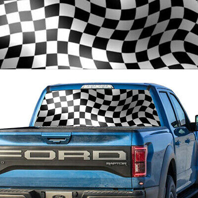 RACING CHECKERED FLAG Rear Window Graphic Decal Tint Truck SUV Perforated Wrap