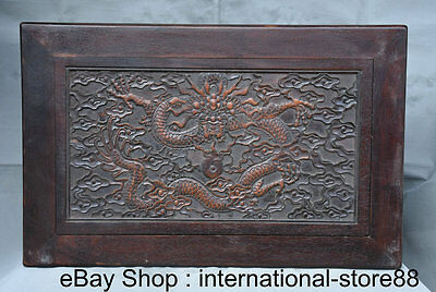 """22.4"""" Old Chinese Yellow Rosewood Palace Dragon Lucky Kang Table Furniture"""