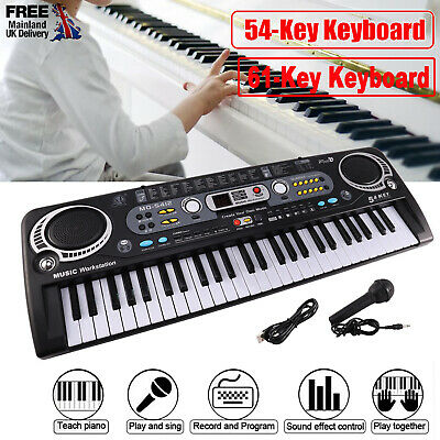 Musical Keyboard Piano 54 /61 Keys Electronic Electric Digital Beginner Kids Set