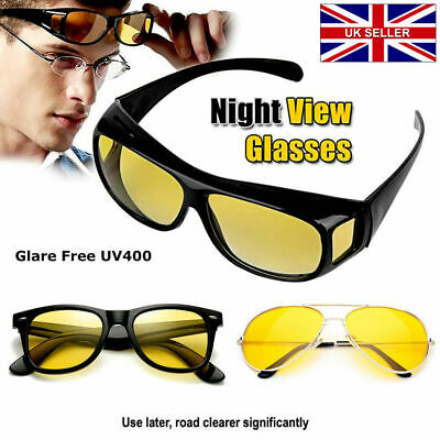 Anti Glare Yellow  Tinted HD Night Vision Driving Glasses Classic Pilot Goggles
