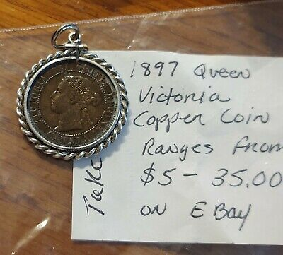 1897 Canada one cent In sterling silver Bezel-Pendant!