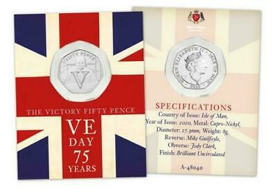 "V E Day 75th Anniversary 'Churchill' or ""V for Victory"" 50p Coin. VE or V.E. Day"