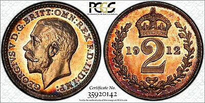 Great Britain George V Silver 1912 2 Pence PCGS PL65 PROOFLIKE RAINBOW  KM#812