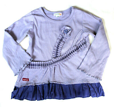 Naartjie Kids Girls Purple Shirt Size 4 Lavender Ruffles Long Sleeve