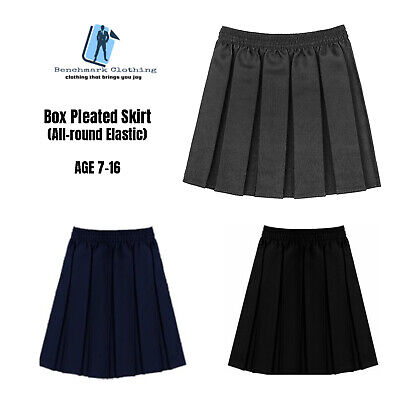 Ages 7-16 Girls School Skirt Box Pleated All round Elasticated Uniform Grey