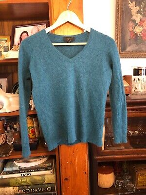 Women's Charter Club 100% Cashmere Sweater size M Blue Green Teal V Neck Euc