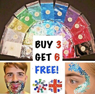 Buy 3 Get 6 Free! 3ml Biodegradable Glitter bags Chunky or Fine Cheap Sparkles