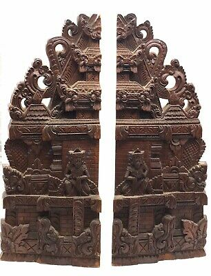 Antique Vintage Carved Tall Bookends Balinese Temple Wooden Relief Set Of 2