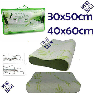 Head Neck Back Support Orthopaedic Bamboo Contour Memory Foam Pillows 2 Size