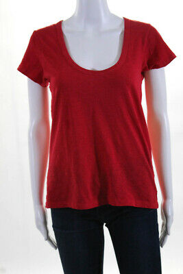 Rag & Bone Womens Cotton Short Sleeve Scoop Neck T-Shirt Red Size Small