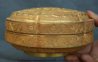 """6"""" Chinese Dynasty Palace Copper Gild Gilt Sika Deer Flower Jewelry Jewelry box"""