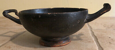 Ancient Greek Calyx Kylix Black Glazed Pottery Wine Cup Vessel Terracotta Estate