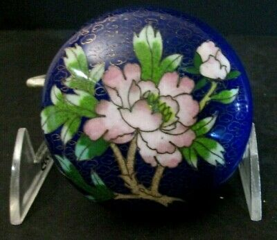 Antique Hand Made Cloisonne Asian Chinese Lge Pill Box Trinkets Vanity Oriental