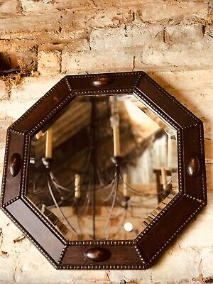 Vintage Wooden Oak Octag Mirror Deco Arts Crafts Style Bedroom Living Room