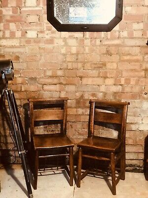 Pair Vintage Solid Wood Chapel Chairs Lovely