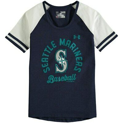 Under Armour Seattle Mariners Girls Youth Navy/White Baseball Half-Sleeve