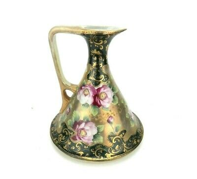 Antique Nippon Porcelain Moriage Ewer Pitcher Hand Painted Unsigned Roses