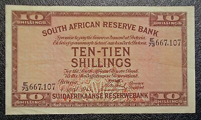 1945 South Africa P-82d 10 Shillings banknote