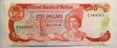 1987 Belize $5 Queen Elizabeth II P-47a AU+ Superb banknote