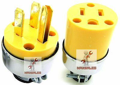 2 pc MALE & FEMALE Extension Cord Electrical Wire Repair Replacement Plug End