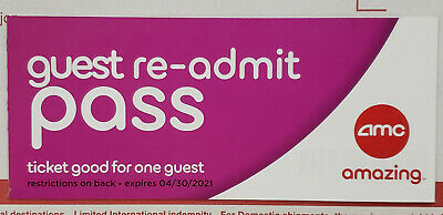 AMC Theaters Re-Admit Guest Passes - 3D, Dolby, IMAX, Prime - Expires 04/30/2021
