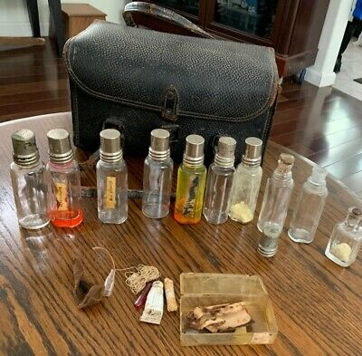 Antique  Medical Bag And Its Contents Includes 10 Glass Bottles Plus
