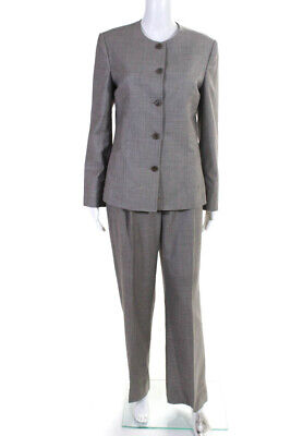 Paul Stuart Womens Two Piece Vintage Pant Suit Brown Houndstooth Cotton Size 4