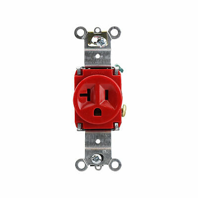Pass & Seymour 5361-Red Single Receptacle, Spec Grade, 20A, 125V, Red (10 Pack)