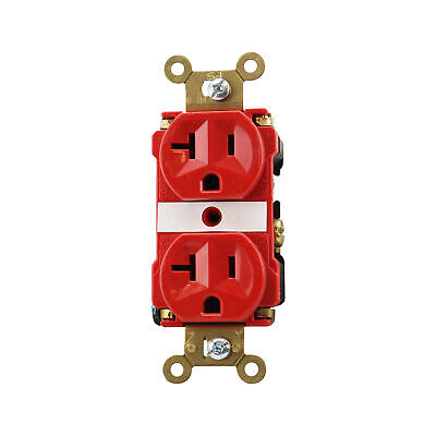 Pass & Seymour 5362-Ared Duplex Receptacle, Industrial Spec, 20A, 125V, Red