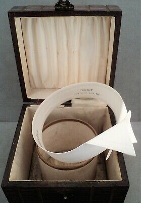 Vtg Antique WOOD Collar BOX Satin-Lined with ARROW Stiff DETACHABLE COLLAR Sz 16