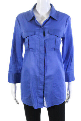 Theory Womens 3/4 Sleeve Solid Print  Button Down Shirt Blue Cotton Size Large