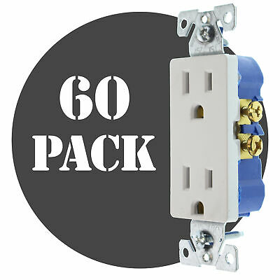 Hubbell Rrd15Wz Duplex Decorator Receptacle, Non-Tr, 15A, 120V, White, (60-Pack)