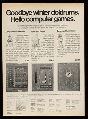 1972 Computamatic Football Computer Vegas computer Horseracing game print ad
