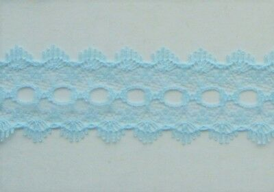 CRAFT-EYELET-LACE 28mm Knitting Eyelet Lace( 5 x blue colour variations listed)