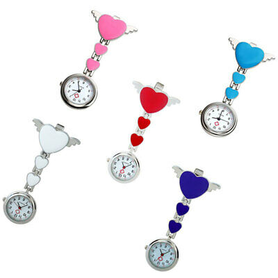 Stainless Steel Hearts Nurse Brooch Tunic Fob Watch Pocket with FREE BATTERY UK