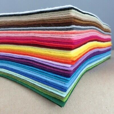 Wool Mix Craft Felt Pack contains all 48 COLOURS - choice of size
