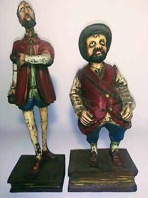 Wooden Don Quixote & Sancho Panza Painted Figurines On Book Base