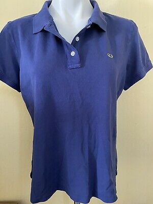Vineyard Vines Classic Solid Short Sleeve Polo Shirt (Womens Large ) Blue