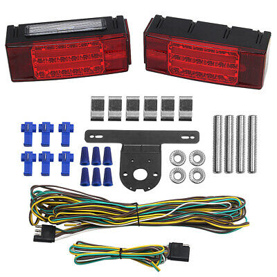 2x LED Submersible Rectangular Trailer Boat Truck Marine Tail Stop Turn Lights