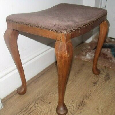 Vintage Mahogany Framed Upholstered Foot Dressing Stool Table with cabriole Feet