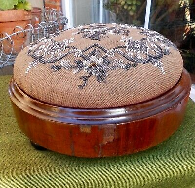 Victorian Mahogany Round Footstool~Original Beaded Tapestry~Black China Feet